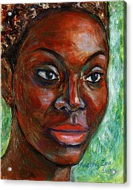 Acrylic Print featuring the painting African Woman by Xueling Zou