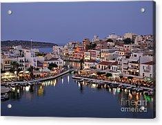 Agios Nikolaos City During Dusk Time Acrylic Print