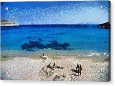 Agrari Beach In Mykonos Island Acrylic Print