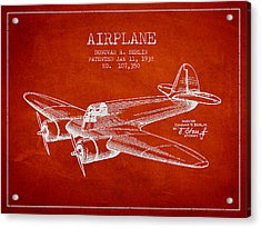 Airplane Patent Drawing From 1938 Acrylic Print by Aged Pixel