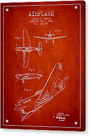 Airplane Patent Drawing From 1943 Acrylic Print by Aged Pixel