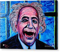 Acrylic Print featuring the painting Albert Einstein by Viktor Lazarev