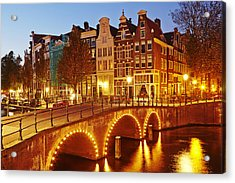 Amsterdam - Old Houses At The Keizersgracht In The Evening Acrylic Print
