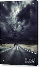An Asphalt Road With Stormy Sky Above Acrylic Print by Evgeny Kuklev