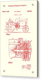 Antique Massey-ferguson Tractor Patent 1935 Acrylic Print by Mountain Dreams