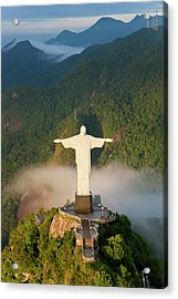 Art Deco Statue Of Jesus, Known Acrylic Print by Peter Adams
