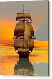 Acrylic Print featuring the digital art At Full Sail by Sandra Bauser Digital Art