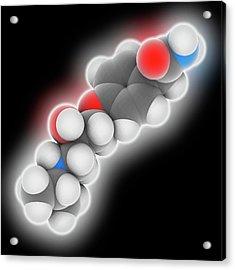 Atenolol Drug Molecule Acrylic Print by Laguna Design