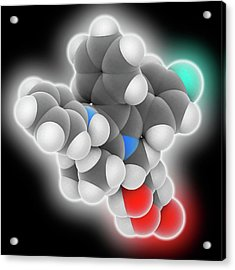 Atorvastatin Drug Molecule Acrylic Print by Laguna Design