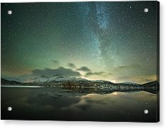 Aurora Borealis And Milky Way Acrylic Print by Tommy Eliassen