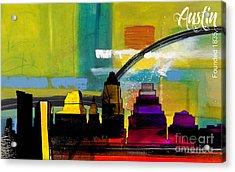 Austin Texas Skyline Watercolor Acrylic Print