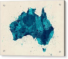 Australia Paint Splashes Map Acrylic Print by Michael Tompsett