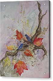 Autumn Bluebirds Acrylic Print