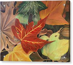Acrylic Print featuring the painting Autumn Leaves In Layers by Christy Saunders Church