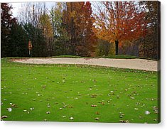 Autumn On The Green Acrylic Print by Randy Pollard