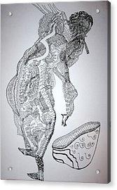 Acrylic Print featuring the drawing Bakiga Dance - Uganda by Gloria Ssali