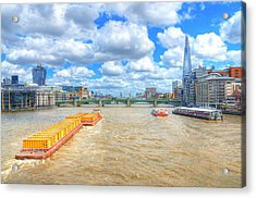 Barge On The Thames Acrylic Print