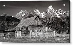 Acrylic Print featuring the photograph Barn And Tetons by Jerry Fornarotto