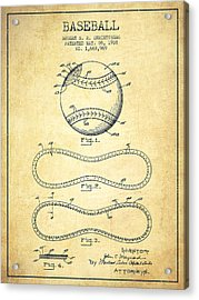 Baseball Patent Drawing From 1928 Acrylic Print