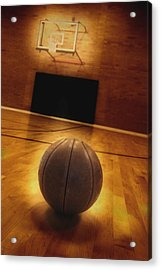 Basketball And Basketball Court Acrylic Print by Lane Erickson