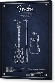 Bass Guitar Patent Drawing From 1960 Acrylic Print by Aged Pixel
