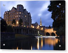 Bath City Spa Viewed Over The River Avon At Night Acrylic Print by Mal Bray