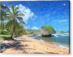Bathsheba Beach In Barbados Acrylic Print