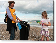 Beach Clean-up Acrylic Print by Matthew Oldfield