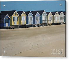Beach Huts By The Seaside Acrylic Print by Linda Monk