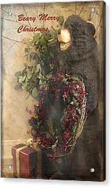 Beary Merry Christmas Acrylic Print by Cindy Rubin