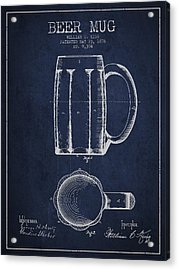 Beer Mug Patent From 1876 - Navy Blue Acrylic Print by Aged Pixel