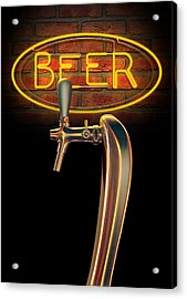 Beer Tap Single With Neon Sign Acrylic Print by Allan Swart
