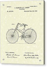 Bicycle 1890 Patent Art Acrylic Print by Prior Art Design