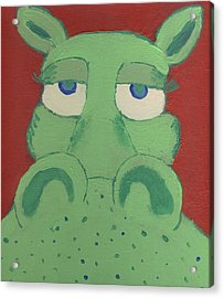 Acrylic Print featuring the painting Big Green Potamus by Yshua The Painter