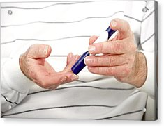 Blood Sugar Level Testing In Diabetes Acrylic Print by Lea Paterson/science Photo Library