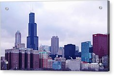 Acrylic Print featuring the photograph Blue Chicago Skyline by Brigitte Emme
