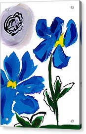 Acrylic Print featuring the painting 2 Blue Petunias Abstract by Frank Bright