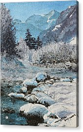 Acrylic Print featuring the painting Blue Winter by Mary Ellen Anderson