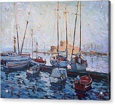 Boats In Rhodes Greece  Acrylic Print by Ylli Haruni