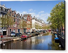Boats On Amsterdam Canal Acrylic Print