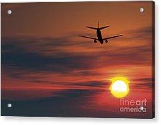 Boeing 737 Ascending At Sunset, Artwork Acrylic Print by Detlev van Ravenswaay