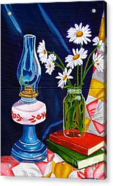Acrylic Print featuring the painting 2 Books And A Lamp by Laura Forde