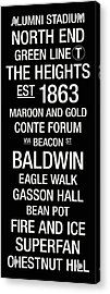 Boston College College Town Wall Art Acrylic Print by Replay Photos