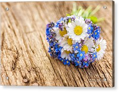 Bouquet With Daisies And Forget-me-not Acrylic Print by Palatia Photo