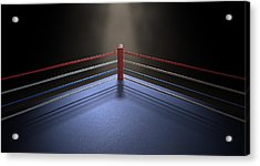 Boxing Corner Spotlit Dark Acrylic Print by Allan Swart