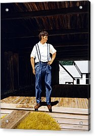 Acrylic Print featuring the painting Boy In The Barn by Ron Haist