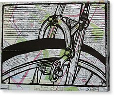 Brake On Map Acrylic Print by William Cauthern