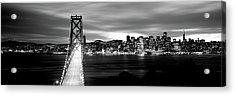 Bridge Lit Up At Dusk, Bay Bridge, San Acrylic Print