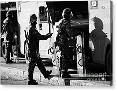 British Army Soldiers In Riot Gear On Crumlin Road At Ardoyne Shops Belfast 12th July Acrylic Print