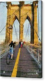 Brooklyn Bridge Promenade Acrylic Print by George Atsametakis